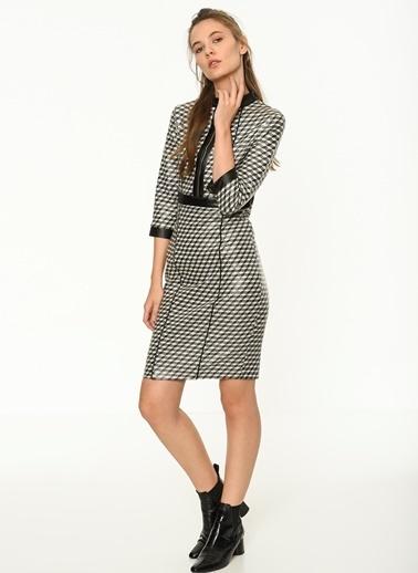 Fermuar Detaylı Mini Dar Elbise-Bovona